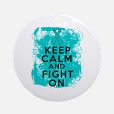 PCOS Keep Calm Fight On Ornament (Round)