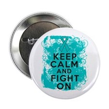 """PCOS Keep Calm Fight On 2.25"""" Button"""