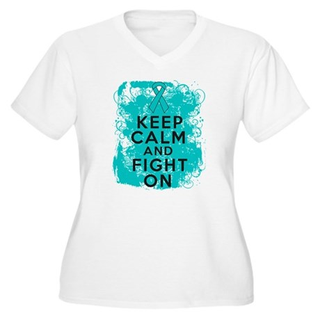 PKD Keep Calm Fight On Women's Plus Size V-Neck T-