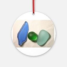Blue Sea Glass with Green Sea Glass Sphere Ornamen