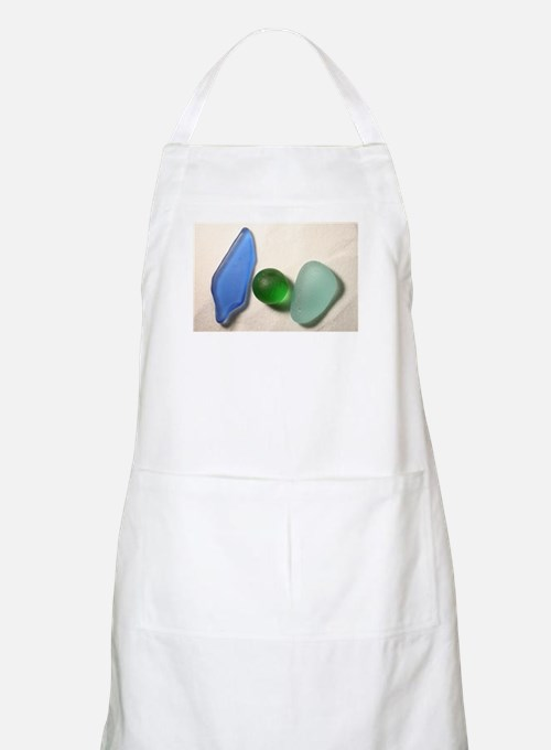 Blue Sea Glass with Green Sea Glass Sphere Apron
