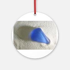 Blue Sea Glass Ornament (Round)