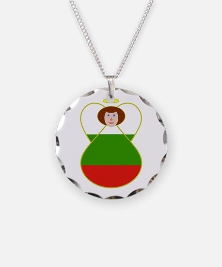 Bulgarian Flag Angel Necklace