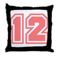 Varsity Uniform Number 12 (Pink) Throw Pillow