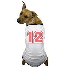 Varsity Uniform Number 12 (Pink) Dog T-Shirt