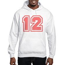 Varsity Uniform Number 12 (Pink) Hoodie Sweatshirt