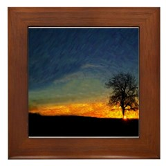 Sunrise On Mount Diablo Framed Tile