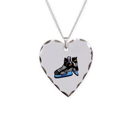 Hockey Necklace Heart Charm