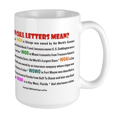What Do Radio Station Call Letters Mean? Large Mug