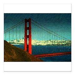 Golden Gate Bridge Square Car Magnet 3