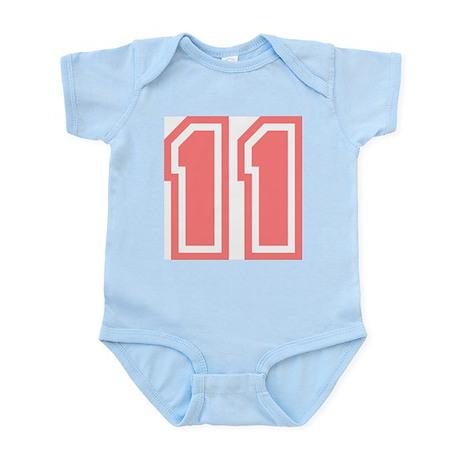 Varsity Uniform Number 11 (Pink) Infant Creeper