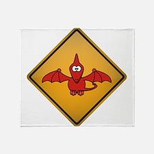 Pterodactyl Warning Sign Throw Blanket