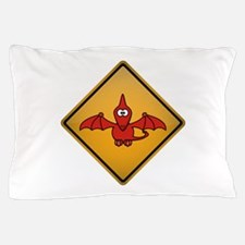 Pterodactyl Warning Sign Pillow Case