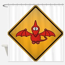 Pterodactyl Warning Sign Shower Curtain