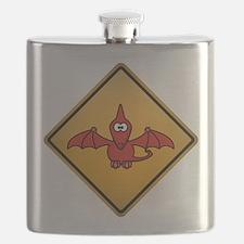 Pterodactyl Warning Sign Flask
