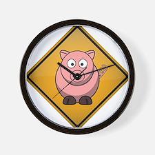 Pig Warning Sign Wall Clock