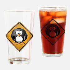 Penguin Warning Sign Drinking Glass