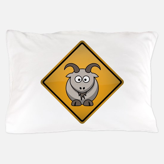 Goat Warning Sign Pillow Case