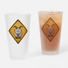 Goat Warning Sign Drinking Glass