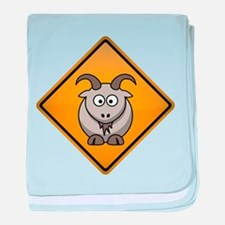 Goat Warning Sign baby blanket