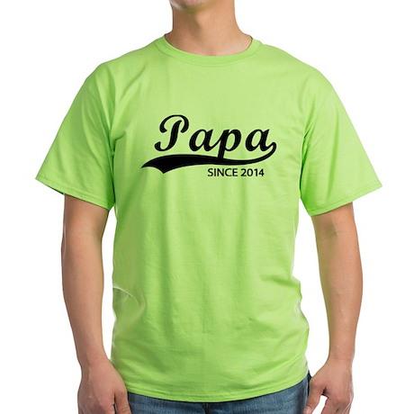 Papa since 2014 Green T-Shirt