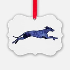 Greyhound Silhouette Fractal Ornament
