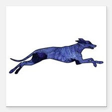 Greyhound Silhouette Fractal Square Car Magnet 3""
