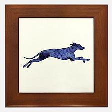 Greyhound Silhouette Fractal Framed Tile