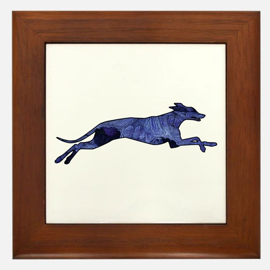 Greyhound Silhouette Fractal Framed Tile