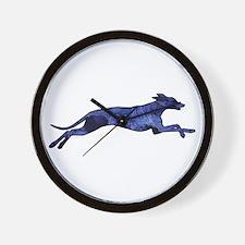 Greyhound Silhouette Fractal Wall Clock