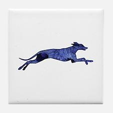Greyhound Silhouette Fractal Tile Coaster