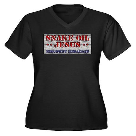 Snake Oil Jesus Women's Plus Size V-Neck Dark T-Sh