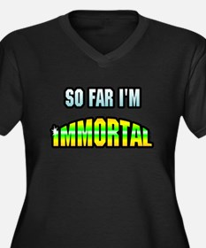 So Far I'm Immortal Women's Plus Size V-Neck Dark