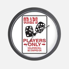 Craps Sign Wall Clock