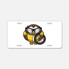 Cyclist Owl Aluminum License Plate