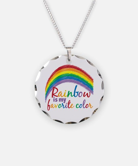 Rainbow Favorite Color Necklace Circle Charm
