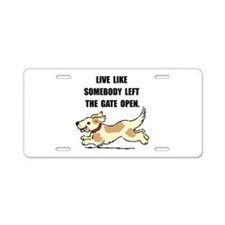 Dog Gate Open Aluminum License Plate
