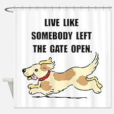 Dog Gate Open Shower Curtain