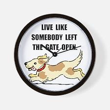 Dog Gate Open Wall Clock
