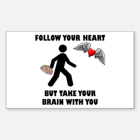 Follow Your Heart Brain Sticker (Rectangle 10 pk)