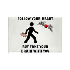 Follow Your Heart Brain Rectangle Magnet (10 pack)