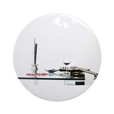 Guitar, candle and wine Ornament (Round)