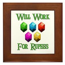 Will Work For Rupees Framed Tile