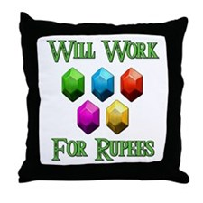 Will Work For Rupees Throw Pillow