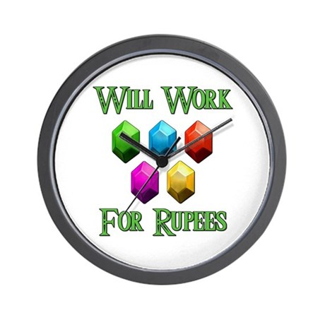 Will Work For Rupees Wall Clock