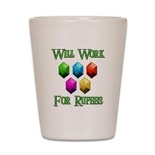 Will Work For Rupees Shot Glass
