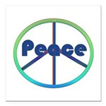 Blue / Green Peace Sign Square Car Magnet 3