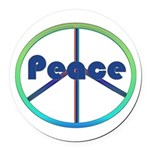 Blue / Green Peace Sign Round Car Magnet
