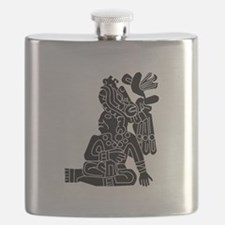 Mexican Aztec Seal Black White.png Flask