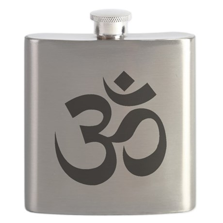 Yoga Om Black.png Flask